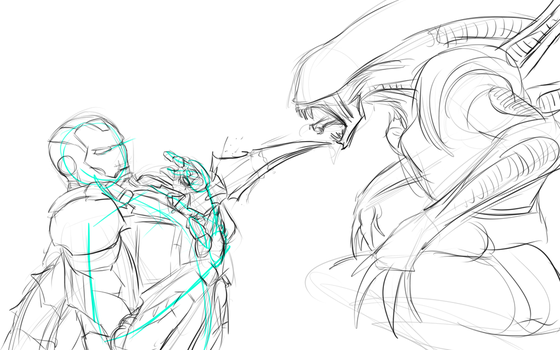 iron man vs xenomorph doodle (wip) by fabman132
