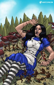 Alice vs. the Giant Woman Squad by giantess-fan-comics
