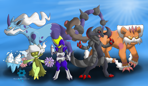 -COMMISSION- Pokemon Team by sodapoq