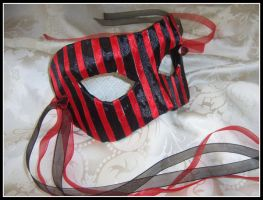 Red and Black Stripe Mask by PurrpleCatt