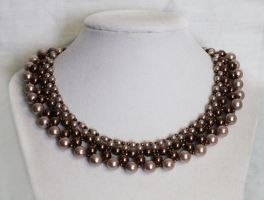 Graduated Bronze Pearl Necklace by Thy-Darkest-Hour