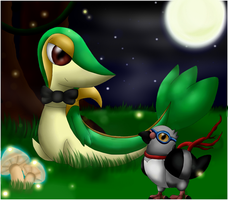 Pokemon: Snivy and Pidove by Ink-Leviathan