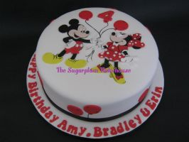 Mickey and Minnie Mouse Birthday Cake by SugarplumB