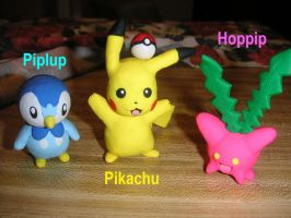 Clay Pikachu, Piplup, and Hoppip Photo Retake. by DanielMejia12