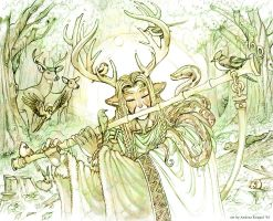 Drawing of Cernunnos II by andrea-koupal