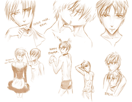 Eren and Levi Sketches by KAI314