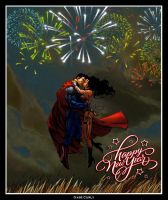 Superman and Wonder Woman - Happy New Year by GabeCurly