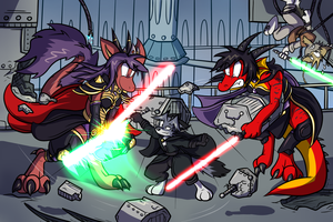 Space Dragons With Laser Swords by Virmir