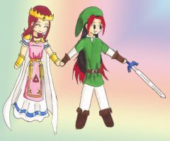 Phe-Link and Princess-Zelda by Pheos