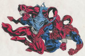 Scarlet Spider vs Spiderman by PsychoTech-Designs