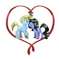 Commission: SaltLick and SugarCube Christmas kiss by Author-chan