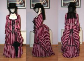 Azdaja's Striped Bustle Gown by HistoricCostume