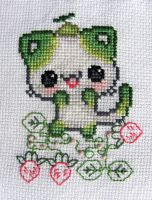 Lime Cat in Strawberries ~cross stitch~ by snowyMelon
