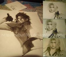 Drawing Zack and Sephiroth by Furby0305