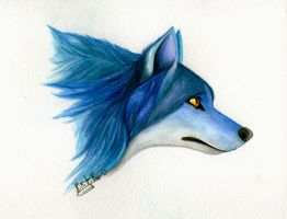 [sold] Blue wolf spirit by Nikithewerewolf