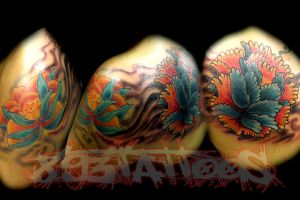 peony cover up by gil893tattoos
