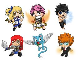 Fairy Tail Chibis by Nickyparsonavenger