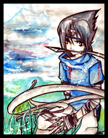 Water colour Sasuke by kuri