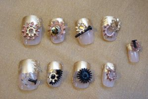 Steampunk Nails by silentplace
