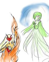 Blaziken and Gardevoir by firestar21