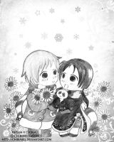 APH:Snowy Sunflowers by chibimeli