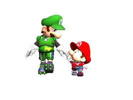Striker Luigi and Baby Mario by BabyLuigiOnFire