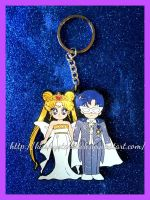 SAILOR MOON NEOQUEEN AND KING FLAT KEYCHAIN by kissmystarbitch