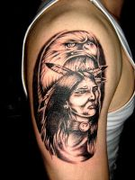 Eagle-indian by UngarTattoo
