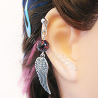 Silver Wing Cartilage Barbell Earring by merigreenleaf