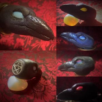 Fimo raven talisman with opalite stone -details by Zilk-Artwork