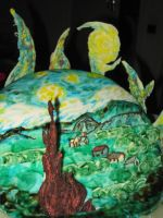 Starry Night cake 3 by recycledrapunzel