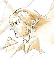 Coffee Painting Test - Link Doodle by KaizokuShojo