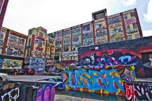Wide of parking lot behind 5 Pointz by StebboKun