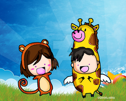 Giraffe and monkey by qiaoke