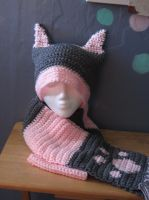 Pink Gray Cat hat scarf Set by Metoria