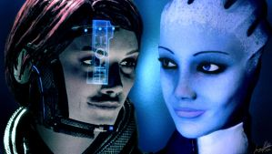 Shepard/Liara Wallpaper by Striped-Stocking