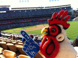 Felted Chicken Head at the Dodgers Game by AlwaysSuagarCoated