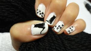 Black Cat Nails by wushini
