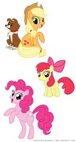 My little pony:Applejack,Applebloom and Pinkie Pie by pinkcupcake17