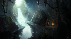 Light Caverns - environment sketch again by undercoreart