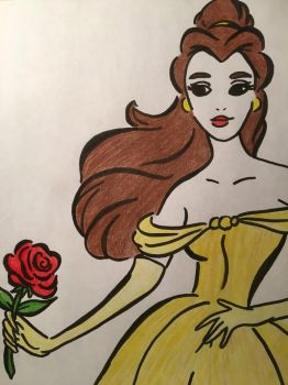 Belle Line Drawing  by julietcapulet432