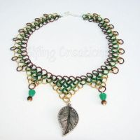 Green and Gold Leaf Chainmaille Necklace by merigreenleaf