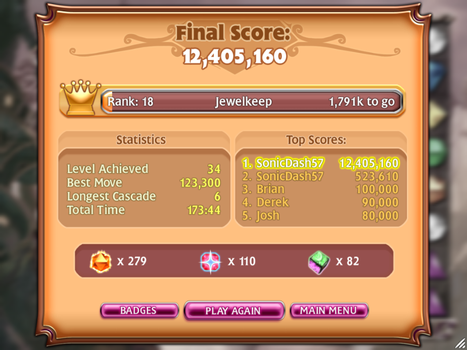 Bejeweled 3 - Classic mode record by SonicDash57