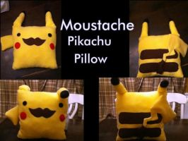 Moustache Pikachu Pillow by ScArReDaRt4