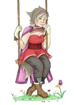 sitting on the swing by SpaceSpiceCartoon