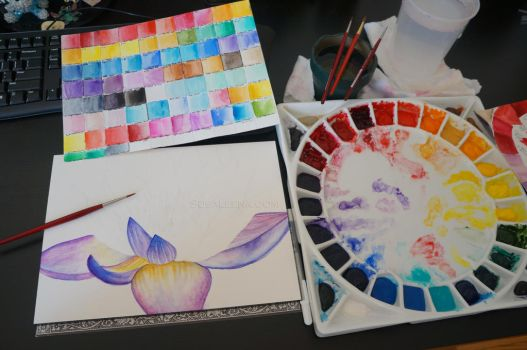 Blue Water Lily - WIP by Susaleena
