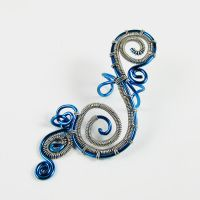 Blue and Silver Swirly EarCuff by sylva