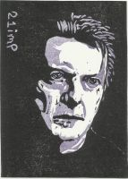 David Bowie ACEO Linocut by 21imp by 21imp