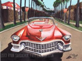 Marilyn Monroe's 1955 Cadillac (Painting) by FastLaneIllustration
