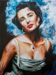 LIz Taylor 18x24 Acrylic on Canvas by Artofronan